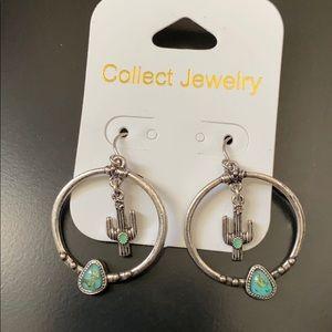 Silver Cactus Earrings NWT